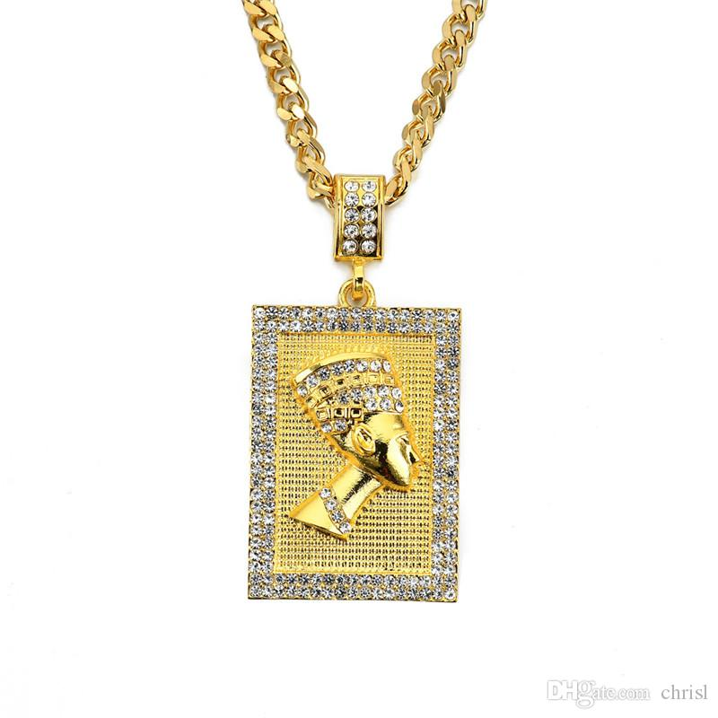 Hiphop Egyptian Pharaoh Necklace Gold Color Pendant Square Card Stainless Steel Cuban Chain Gift for Men/Women Ethiopian Jewelry Trendy