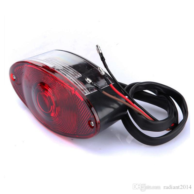 MOTORCYCLE UNIVERSAL CAT EYE REAR BRAKE STOP TAIL LIGHT RED FOR HARLEY CHOPPER