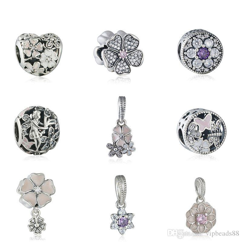 2016 Spring Series CZ Pendant charm 925 Sterling Silver beads Jewelry Making DIY Bracelets Bangles Accessories