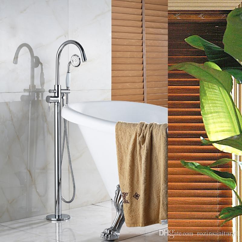 도매 및 소매 휴대용 샤워 폭포 바닥을 가진 좋은 품질 크롬 단 하나 목욕탕 꼭지 꼭지는 세라믹을 거치했다