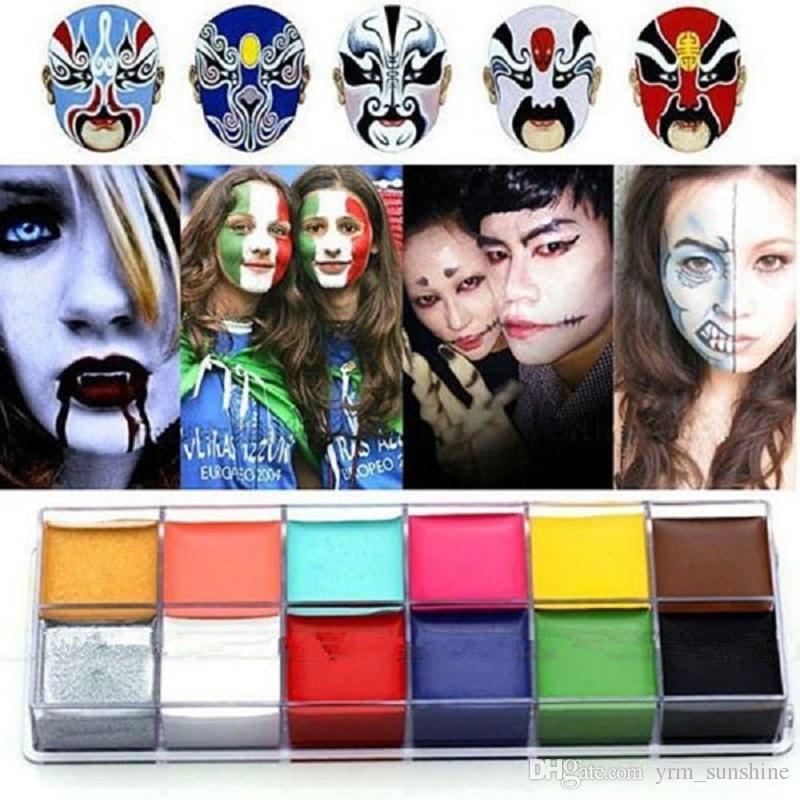 Wholesale-1 Set 12 Colors Flash Tattoo Face Body Paint Oil Painting Art Halloween Party Fancy Dress Beauty Makeup Tools