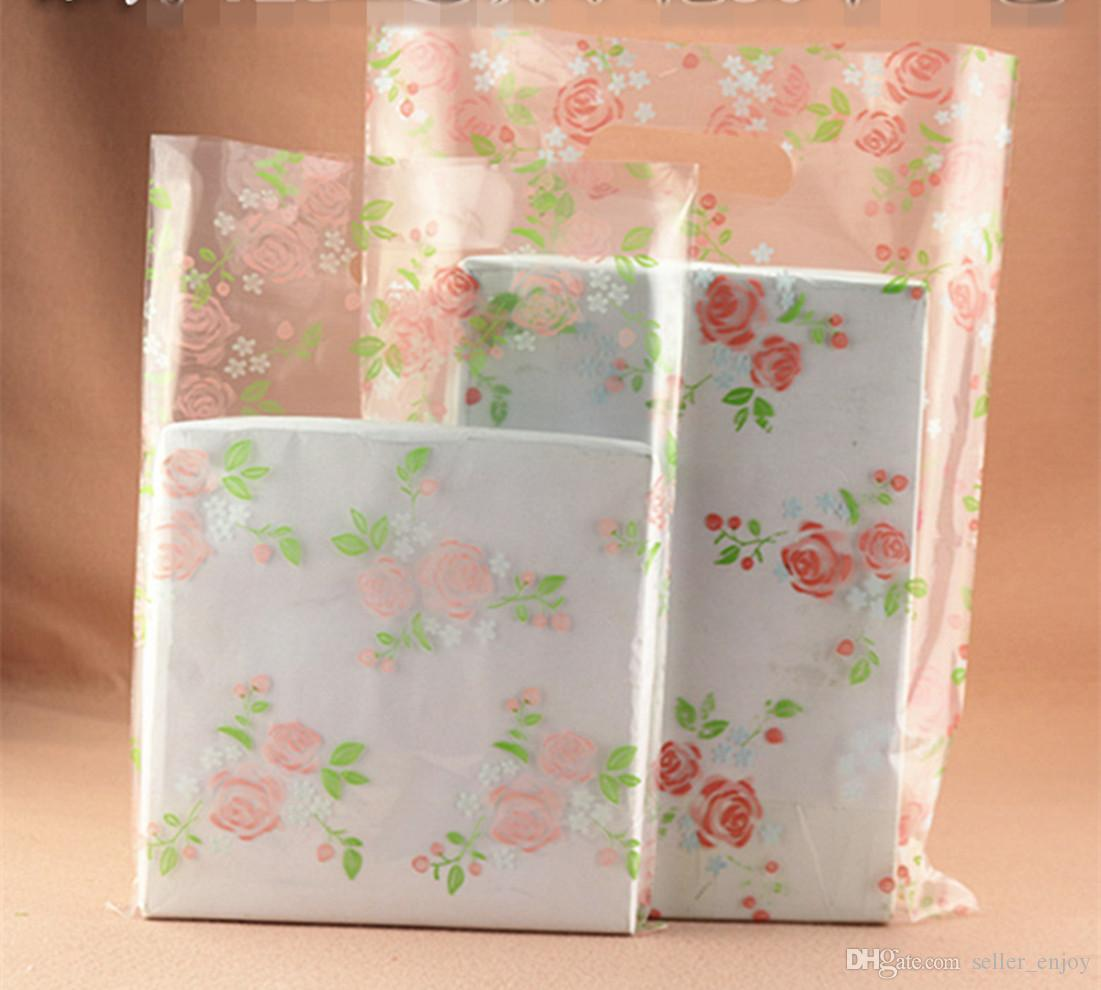 Wholesale 100pcs 20*28cm Rose Floral flower transparent gift bags small Jewelry bag wholesale little size Clear Plastic bag Lady Bags