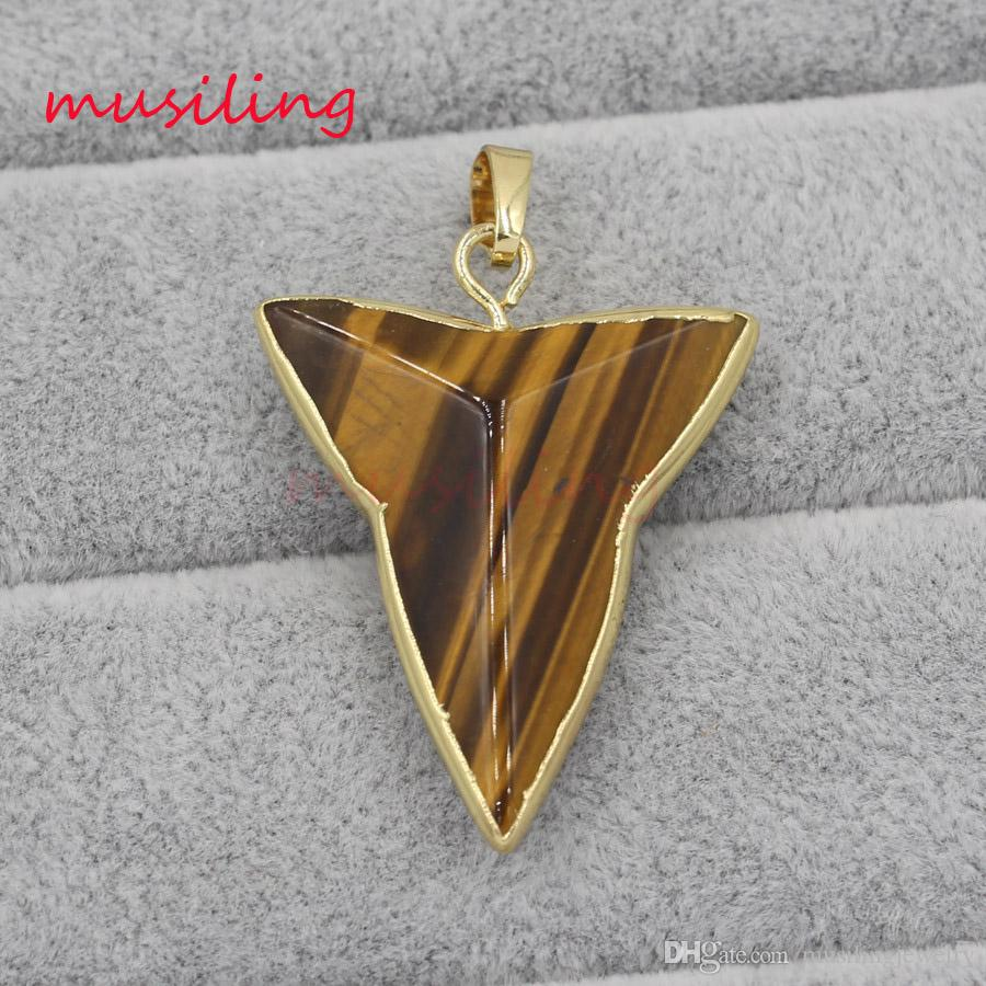 Necklaces & Pendants Shark Teeth Shape Pendant Necklace Chain Gold Plated Charms Pendant Fashion Women Mens Jewelry