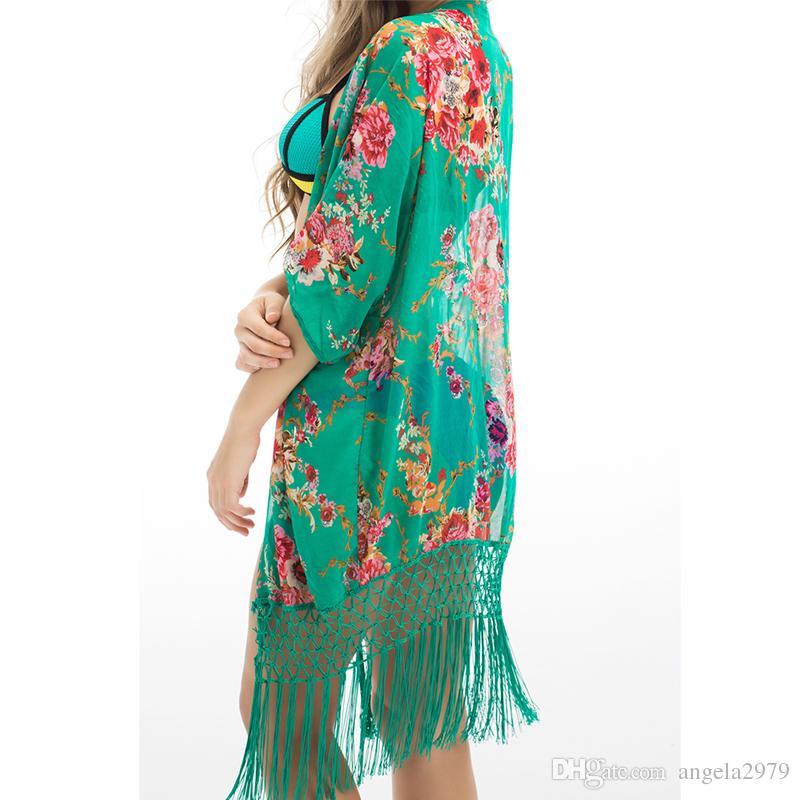 13f645a694e1a Summer Floral Beach Cover Up Bikini Bathing Suit Cover Ups BeachWear ...