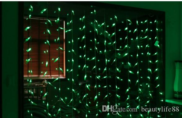 سانتا كلوز عيد الميلاد الزفاف مطعم فندق خلفية خضراء فاتحة 300LED الصفصاف الستار الخفيفة ورقة نمط الخفيفة
