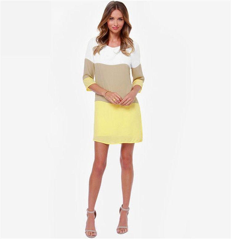 vestido de costura de tres colores espalda dividir es 2017 mujeres del verano vestidos de fiesta de la oficina vestido de playa más el tamaño LM-107