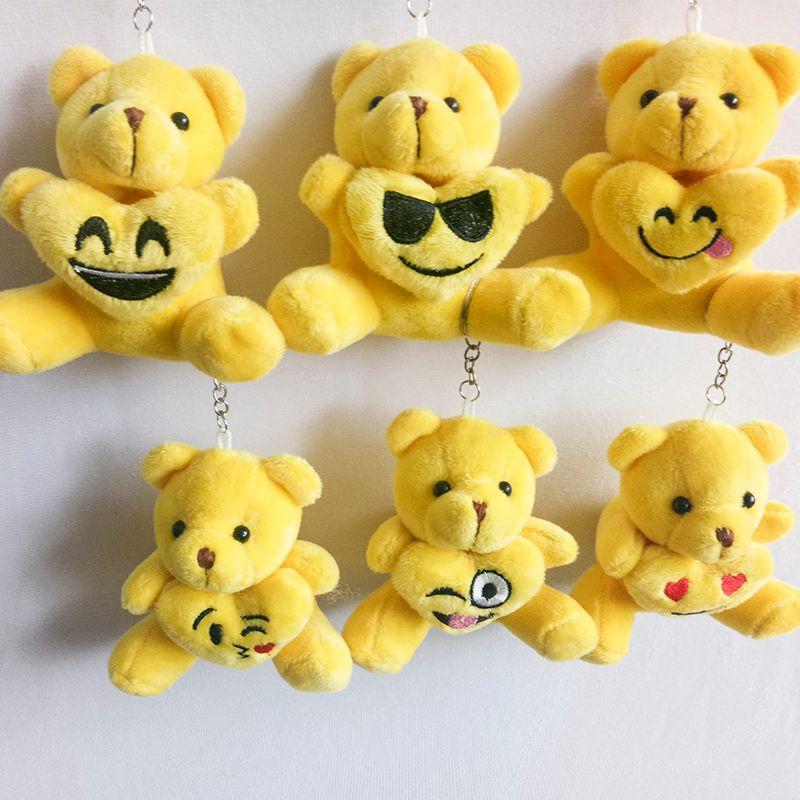 9cm yellow emoji bear cartoon stuffed toy plush toy pendant bag