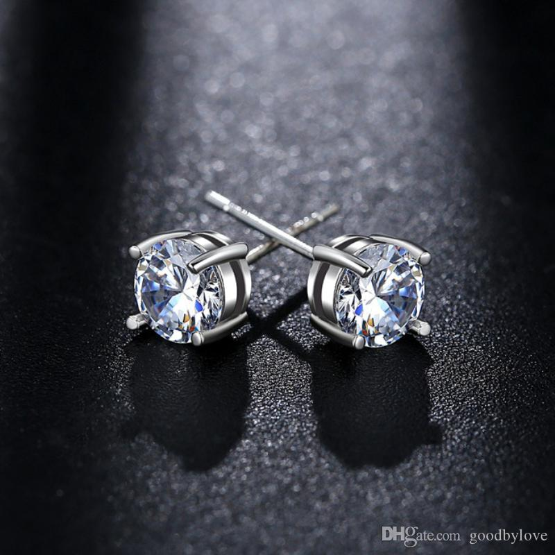 18K White Gold Plated Cupid Cut Four Claws 6MM Zircon CZ Piercing Stud Earrings 8MM Rabbit Pendant Necklace Kids Jewelry Sets