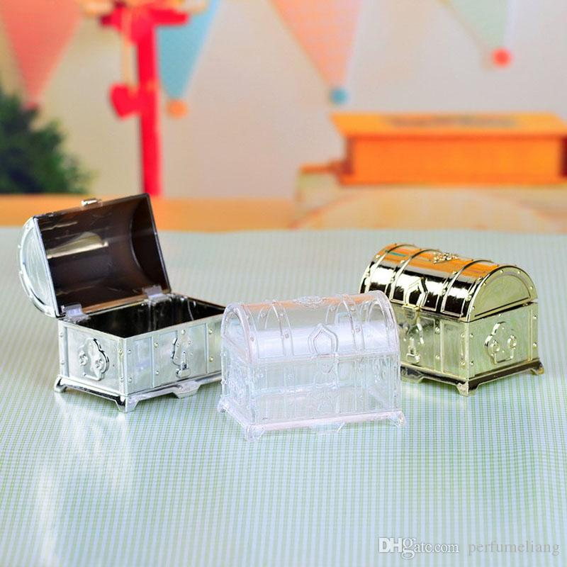 Retro Treasure Chest Favor Box Plastic Transparent Gold Silver Candy Boxes Chocolate Gift Boxes For Party Guest ZA3410