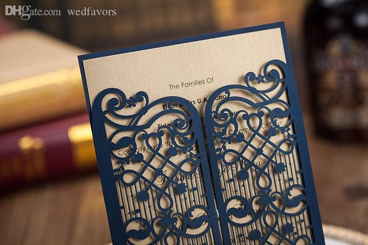Hollow wedding invitation cards personalized Dark royal blue laser cut invitation cards with envelope and inserts via DHL