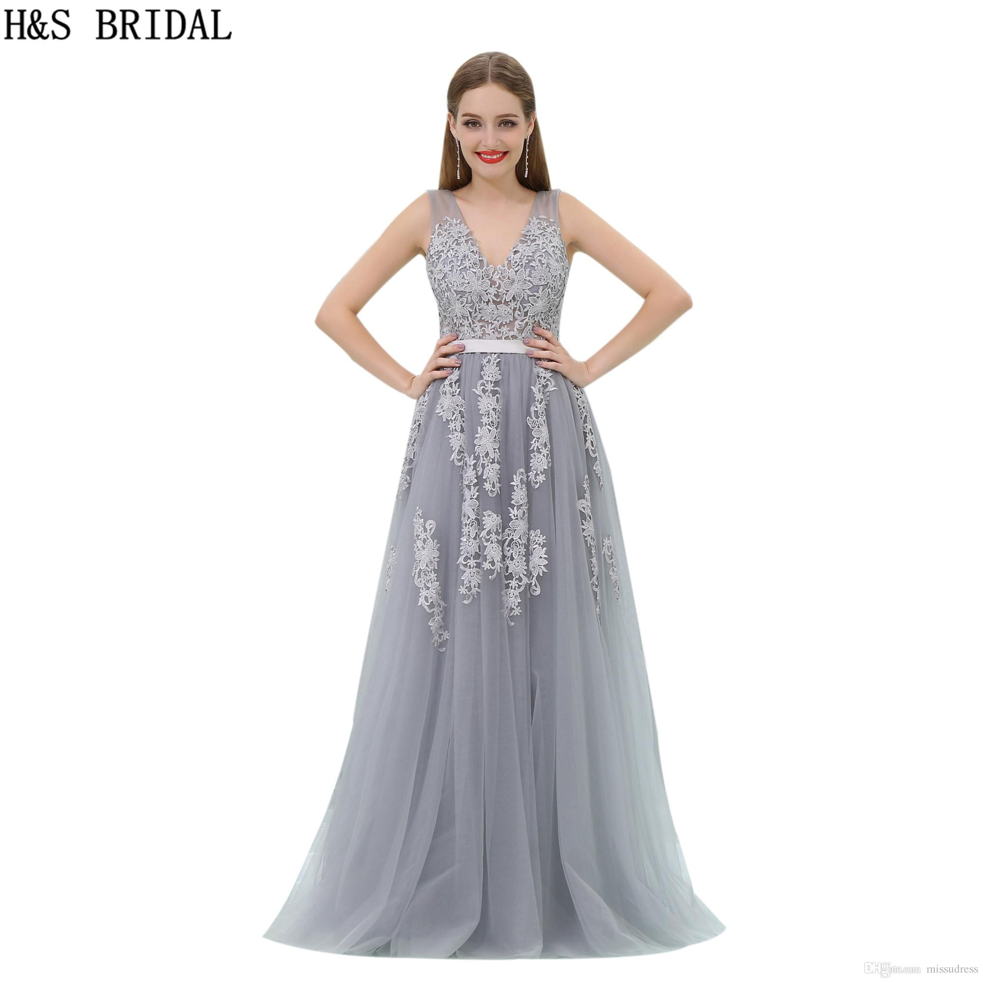 Cheap Tulle Prom Dresses Grey Lace Appliques Sheer Formal Evening Dresses  Women Long Evening Gowns B008