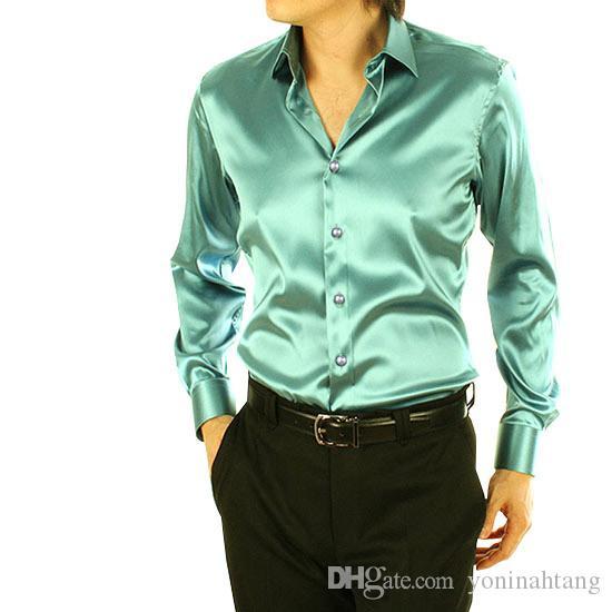 Venta al por mayor envío gratuito de manga larga de seda de los hombres camisa casual delgada más el tamaño más el tamaño de los hombres camisas de vestir de boda suave ocasional camisa suelta hombres