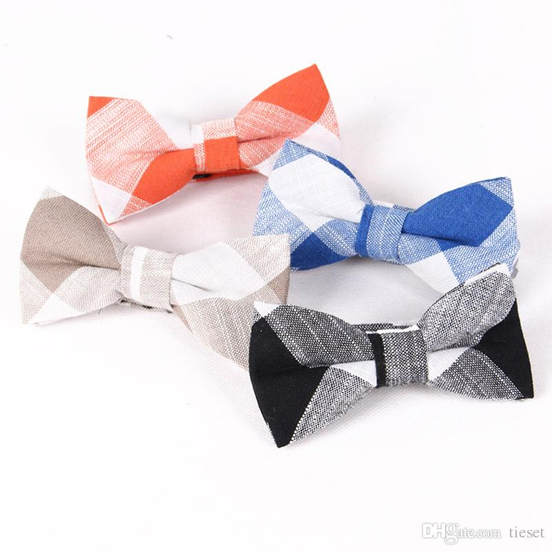 TIESET Men's Plaid Linen Bow Tie Casual Wedding Groom Groomsman Gift For Men Neckwear Free Shipping