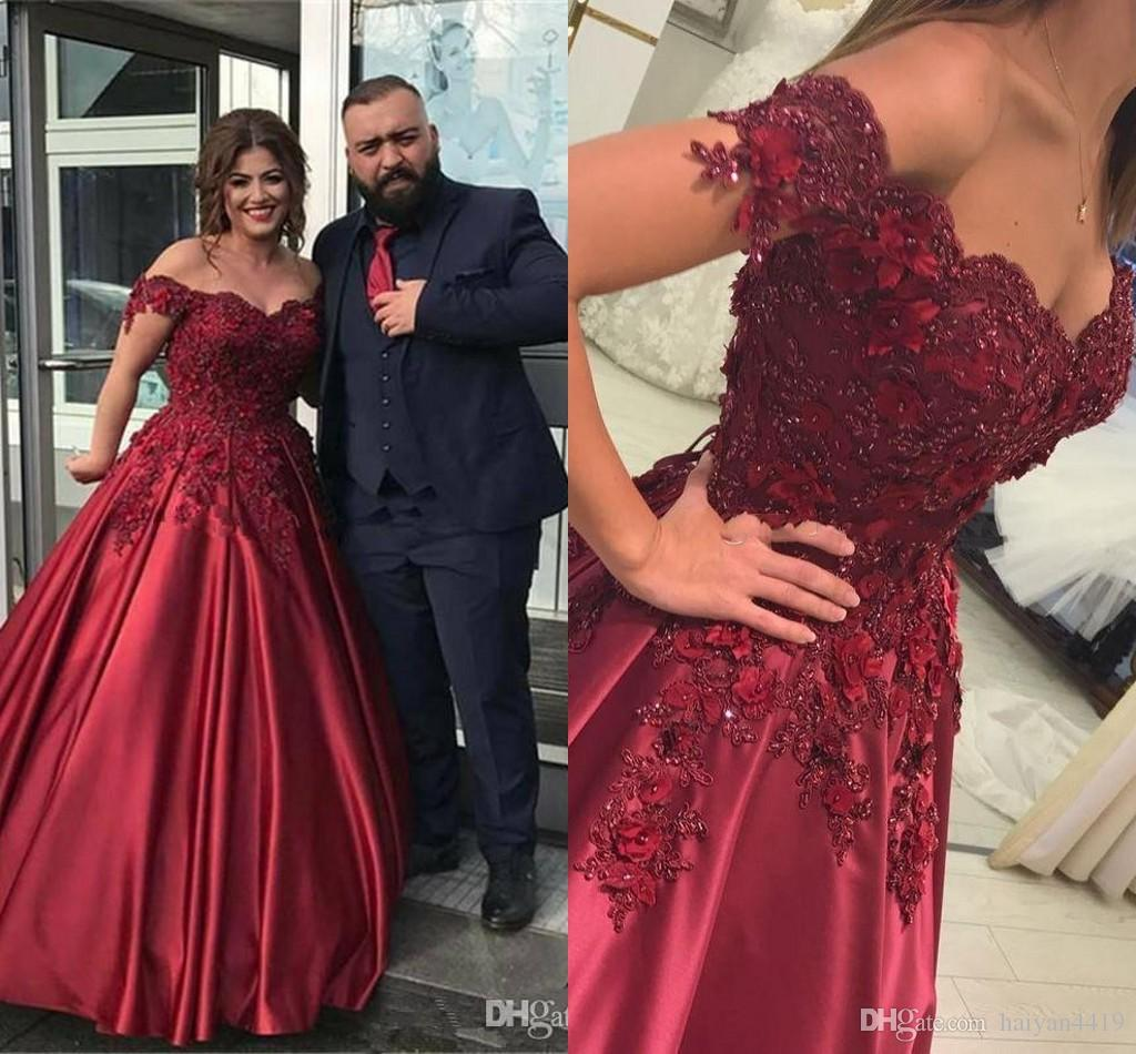 3912d48ab4d 2018 Sexy Prom Dresses Off Shoulder Sweetheart Ball Gown Lace Appliques  Beading Plus Size Burgundy Satin Party Dress Formal Evening Gowns Prom  Dresses Uk ...