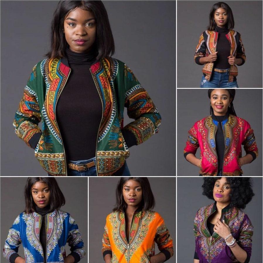 Las mujeres de manga larga otoño africano tradicional impresión de la chaqueta señoras caen Ankara Bomber Dashiki abrigo Outwear