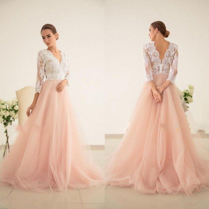 vestido de noiva baile simples do vintage blush rosa vestidos de