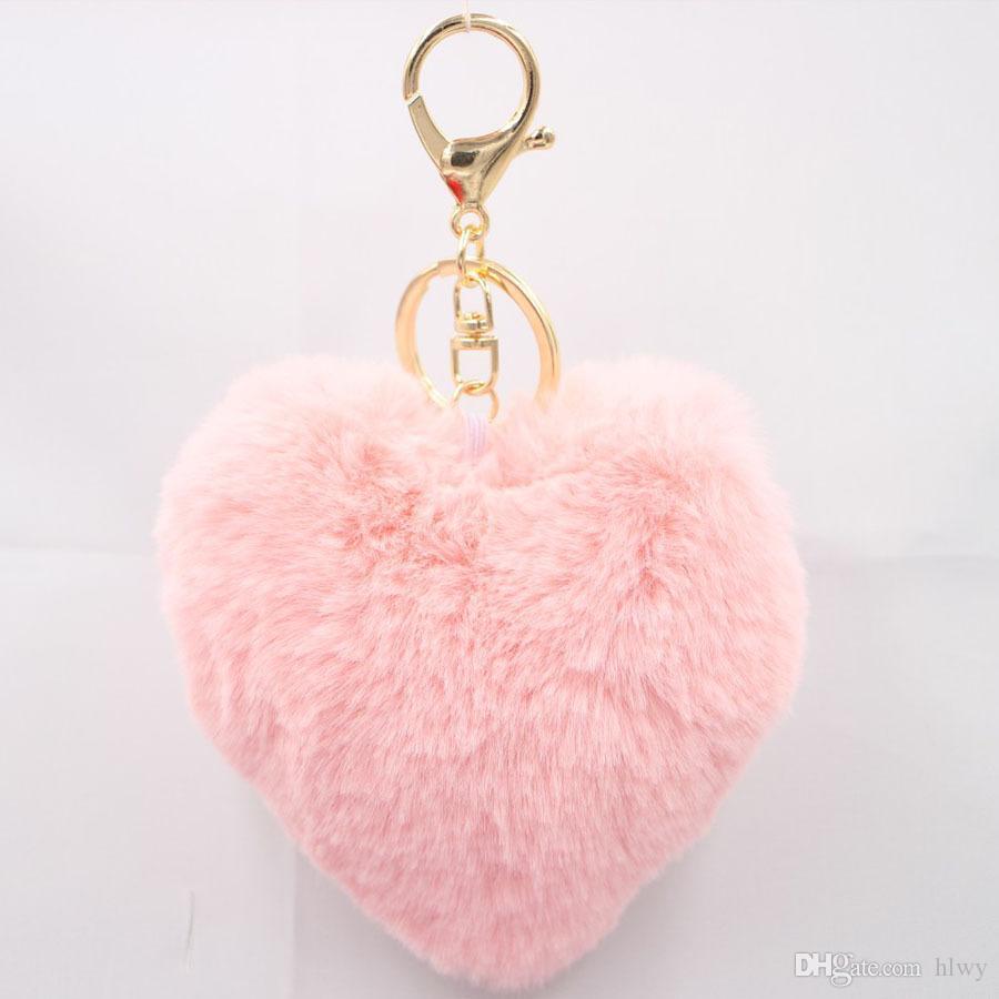 Porte-clés moelleux fourrure de fourrure de lapin en fourrure de pom pom llaveros portachiavi