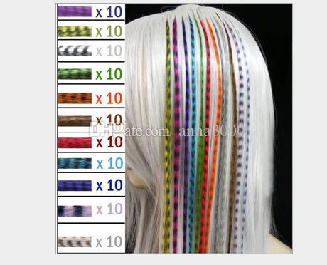 Colorful Length 16inch 40cm Synthetic Available Grizzly Loop Feather Hair Extensions Hairpiece