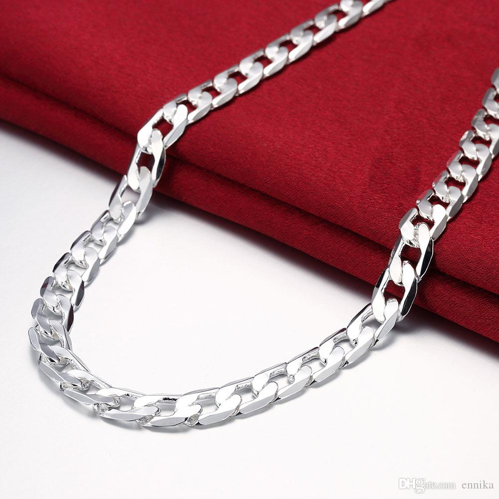 For Men's Figaro Chains 925 Silver Curb Chain Necklace 20inch 8mm , Fashion Silver Jewelry Necklaces N005