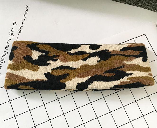Камуфляж цвет шерсти трикотажные оголовье волос Wrap для женщин печати военная эластичный твист тюрбан йога спорт повязки головной убор 20 шт. / лот