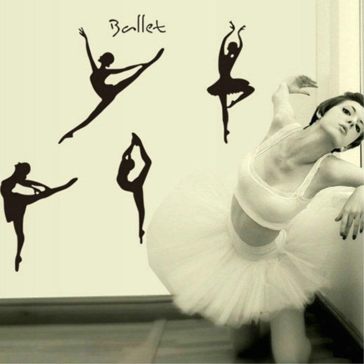 2 stili diy ragazze rosa ballando balletto wall sticker nero danza balletto wall sticker decalcomanie la decorazione domestica camera dei bambini