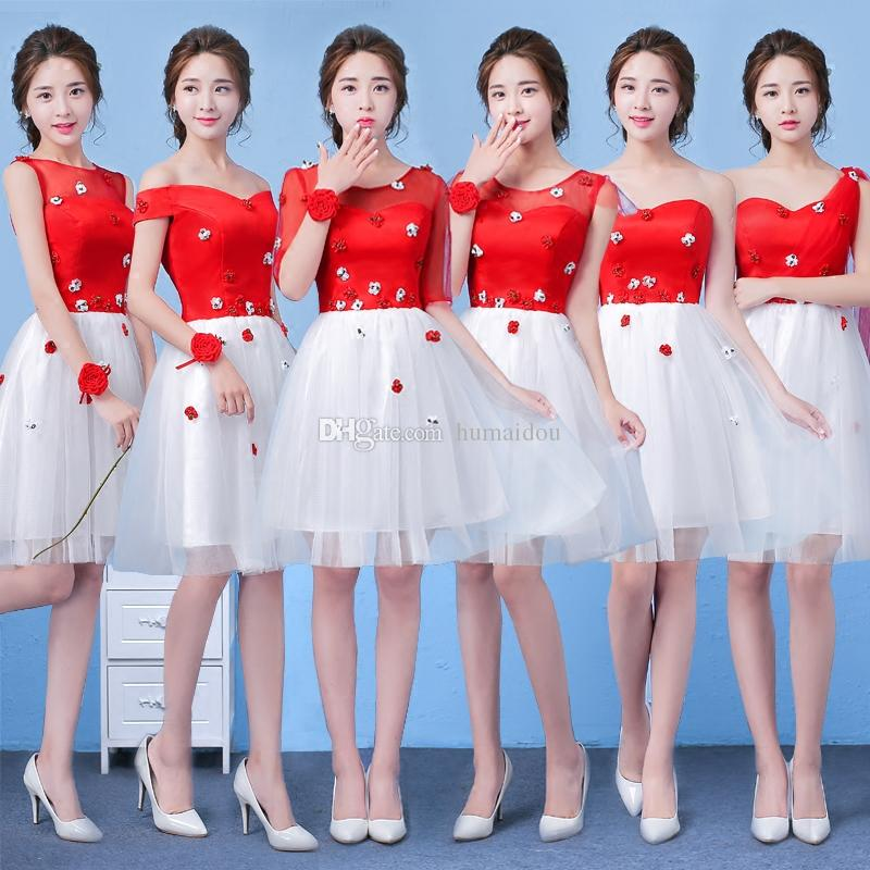 Cheap Red White Short Bridesmaid Dresses One Soulder Lace Up Knee ...