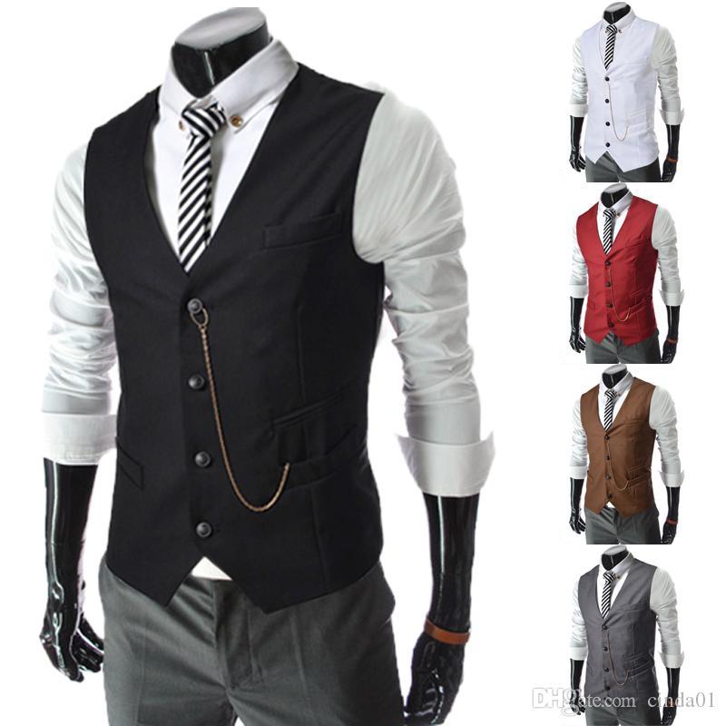 Erkekler Iş Yuvarları Örgün Erkek Yelek Moda Damat Smokin Giymek Damat Yelekler Casual Ince Yelek Custom Made Zincir Ile