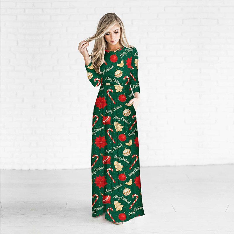 2018 new christmas one piece dress women o neck long sleeve slim elegant princess skirt one size from maxperfect 1106 dhgatecom - Long Christmas Dresses