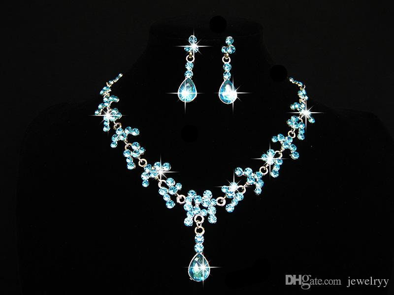 Elegant Bridal Wedding Jewelry Set Waterdrop Women Girls Prom Rhinestone Crystal Necklace and Earring Set for Party
