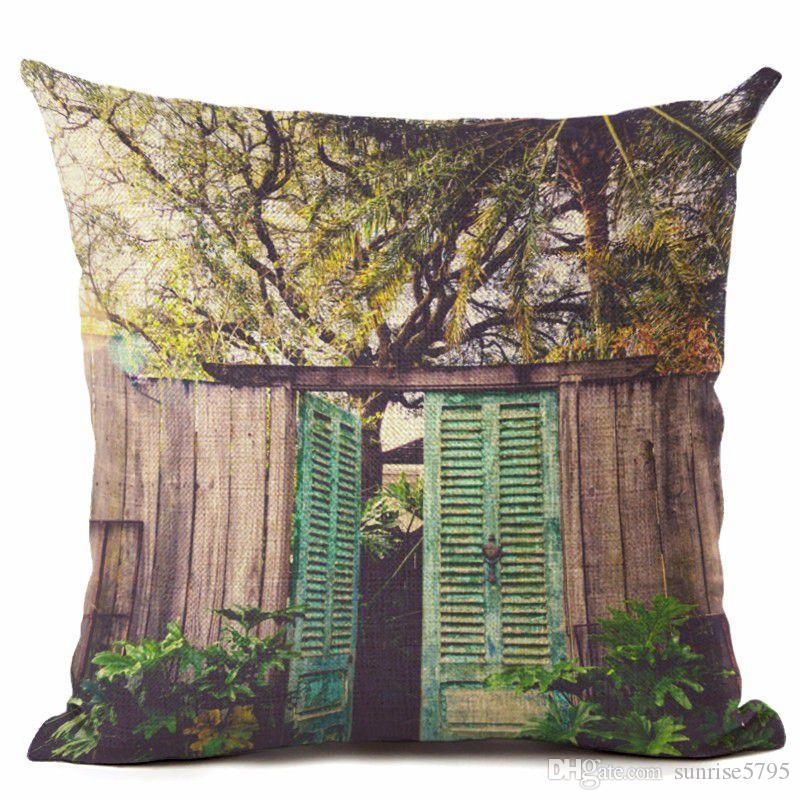 trees cushion cover forest woodland office home decor tropical palm chair couch throw pillow case vert almofada decorative cojin