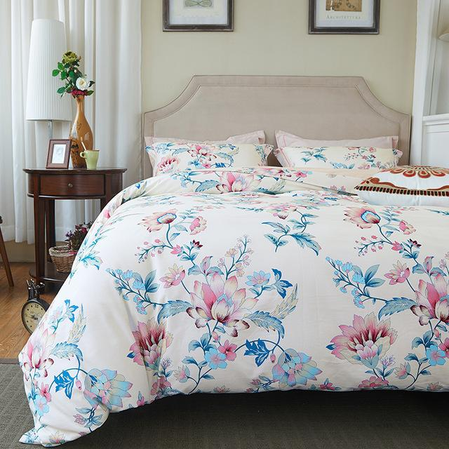 Svetanya Lotus Floral Print Bedding Sets 100% Sanding Cotton Bed Linens  Twin Queen King Europe Size Bedclothes Cotton Bed Linen Bedding Set Printed  Bedding ...