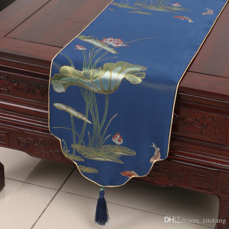 High End Classic Lotus Luxury Table Runner Multi Size Length Decorative Dining Table Mats Protection Pads Silk brocade Coffee Table Cloth