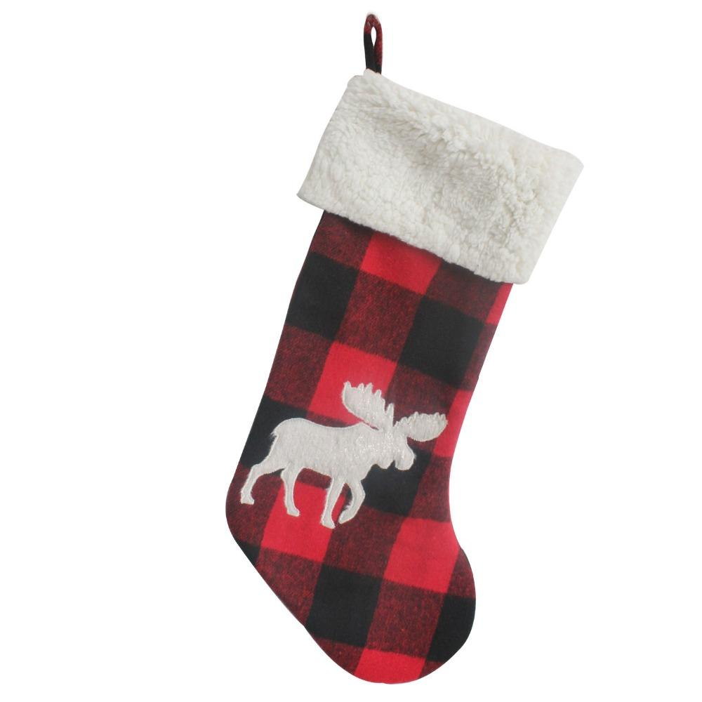 stocking decoration buffalo check with 3d applique short plush cute moose christmas stocking christmas socks christmas party decoration christmas party
