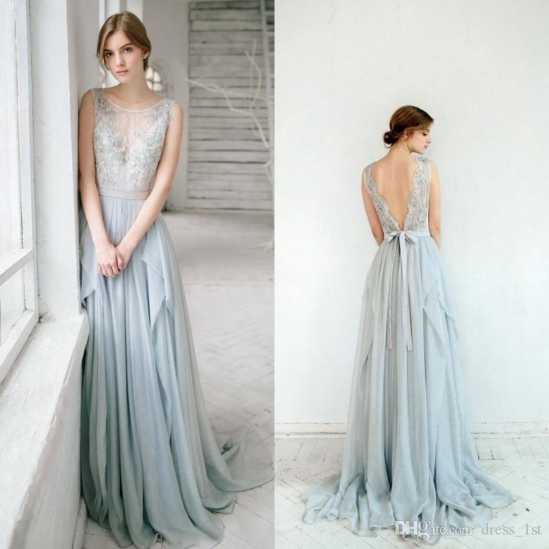 Charming 2016 Dusty Blue Chiffon Backless Bridesmaid Dresses Long Cheap  Jewel Lace Beaded Sash Long Maid Of Honor Gowns Custom Made EN111511  Designer Gowns ... 3f7ed90512cd
