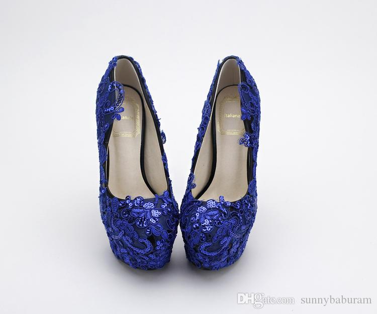 Royal Lace Applique Cendrillon Chaussures Paillettes De Mariée Demoiselle D'honneur Chaussures De Mariage 2017 Prom Soirée Soirée Club Party Super Talons