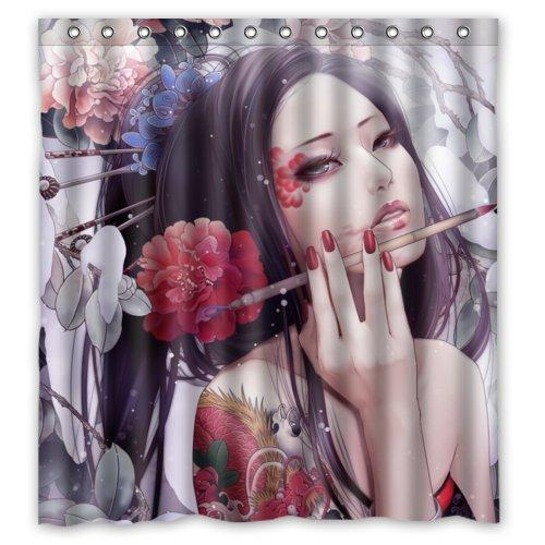 2019 66W X 72H Sexy Woman Chinese Geisha Girl Popular Bathroom Shower Curtain 100 Polyester From Dhkey2014 3517