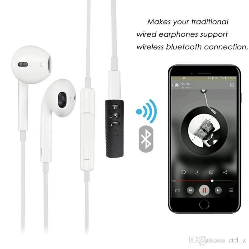 BT2 Clip-on Inalámbrico AUX Bluetooth 4.1 Receptor para el altavoz del auricular del coche 3.5mm Bluetooth Audio adaptador de música Jack con micrófono