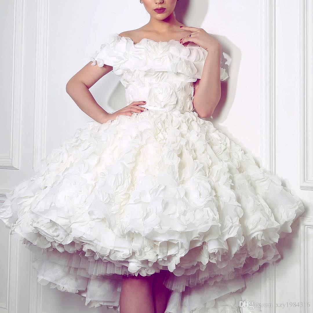 Lovely White High-Low Wedding Dress Sexy Off Shoulder 3D Floral Appliques Short Bridal Dress 2017 Charming Engagement Dress For Pretty Girls