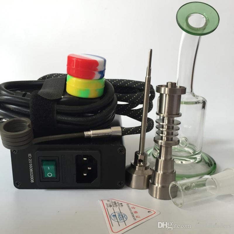 Portable mini temperature controller box with coil heater Gr2 titanium nail titanium carb cap For glass water pipe dab oil rigs