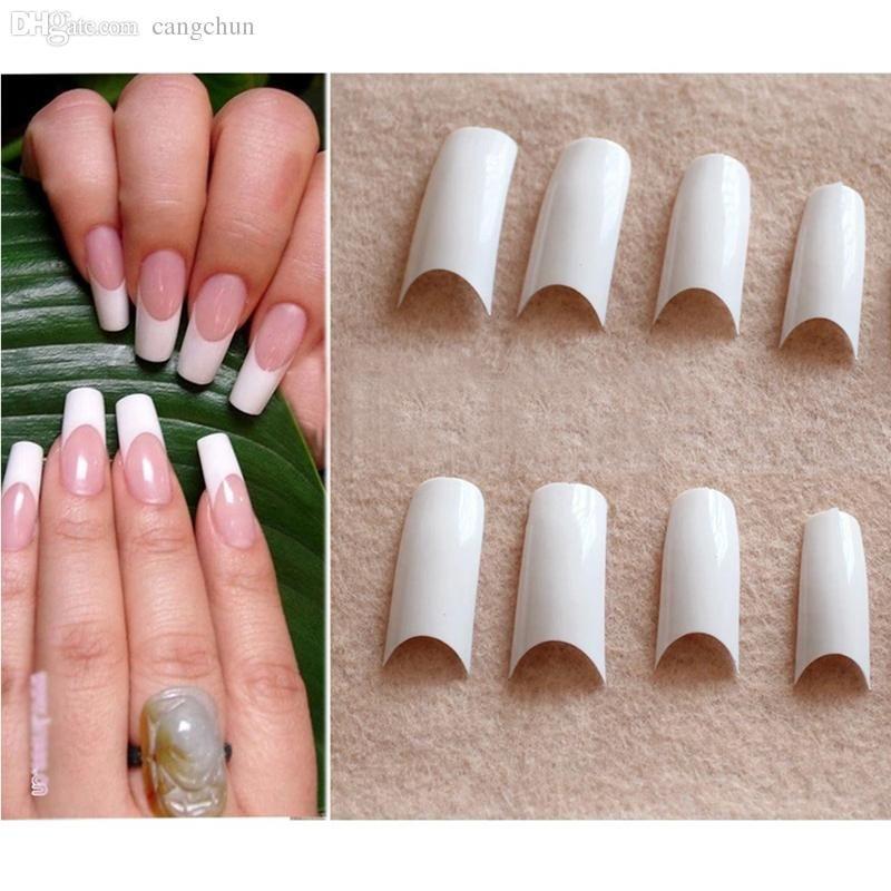 Wholesale False Nails French Tips Smile French Manicure Fake Nail ...
