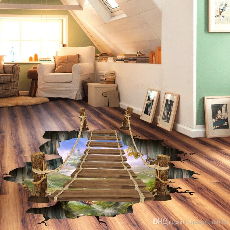 3d Cartoon Drawbridge Design Wall Floor Decals Creative Kid Room Bathroom  Home Decor Stickers Vinyl Wall Art Quotes Vinyl Wall Art Stickers From ...