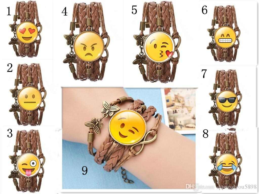 Quality Lovely Emoji Bracelets Vintage Butterfly Smile Smirk Fly Kiss Heart  Face Expressions Braide Wristbands DHL Shipping