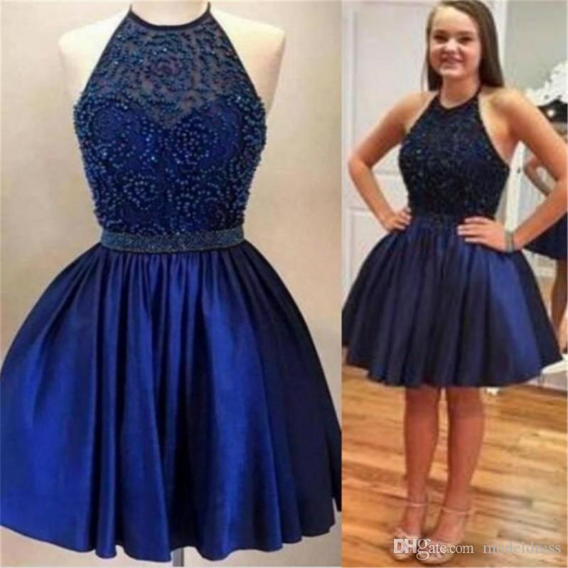 Navy Blue Short Major Beading Homecoming Dresses 2017 Halter Backless A Line Knee Length Party Girl Pageant Gowns Custom Made Cheap