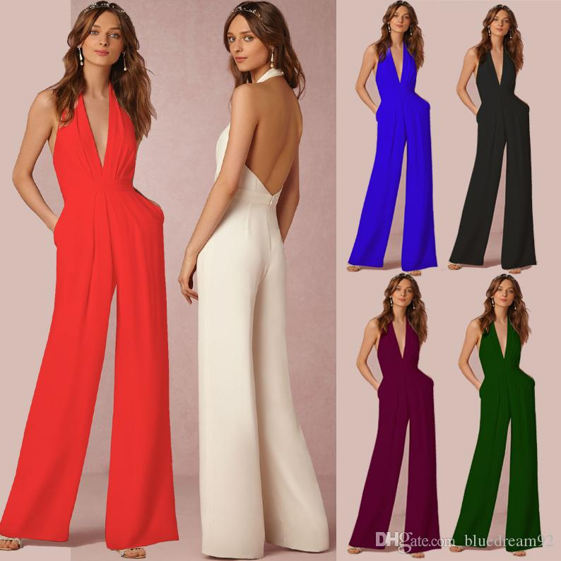 14ad89734459 2019 Plus Size Jumpsuits For Women Spring And Autumn Casual Jumpsuit Women  One Piece Pants Jumpsuits Rompers Sexy Sleeveless Hanging Neck Romper From  ...