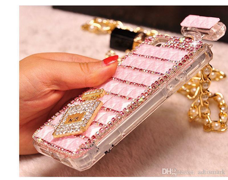 Pour iPhone 6s Bouteille De Parfum Diamant Mobile Téléphone Cas Lanyard Cas 5S Strass Mobile Téléphone Cas avec Opp Package