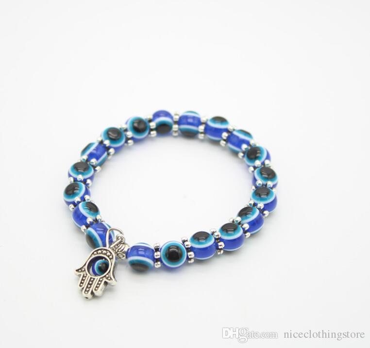 Мода 8 мм смолы бусины браслет старинные чешские голубые глаза Фатима рука Хамса эластичный мужской браслет