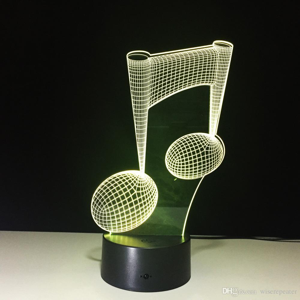 3D Music Melody Illusion Lamp Night Light DC 5V USB Charging 5th Battery Wholesale Dropshipping Retail Box