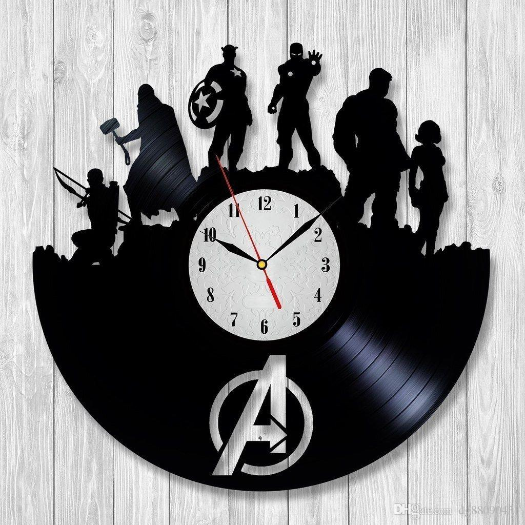 Avengers movie black art vinyl record clock wall decor home design see larger image amipublicfo Images