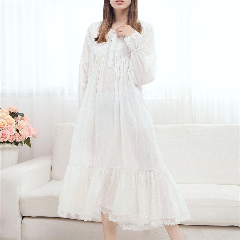 Wholesale 2017 Long Cotton Nightgown Princess Sleep Lounge Women White Home  Dress Sleepshirts Female Nightdress Vintage Camisao  P165 UK 2019 From  Sweet59 ecc21dac30
