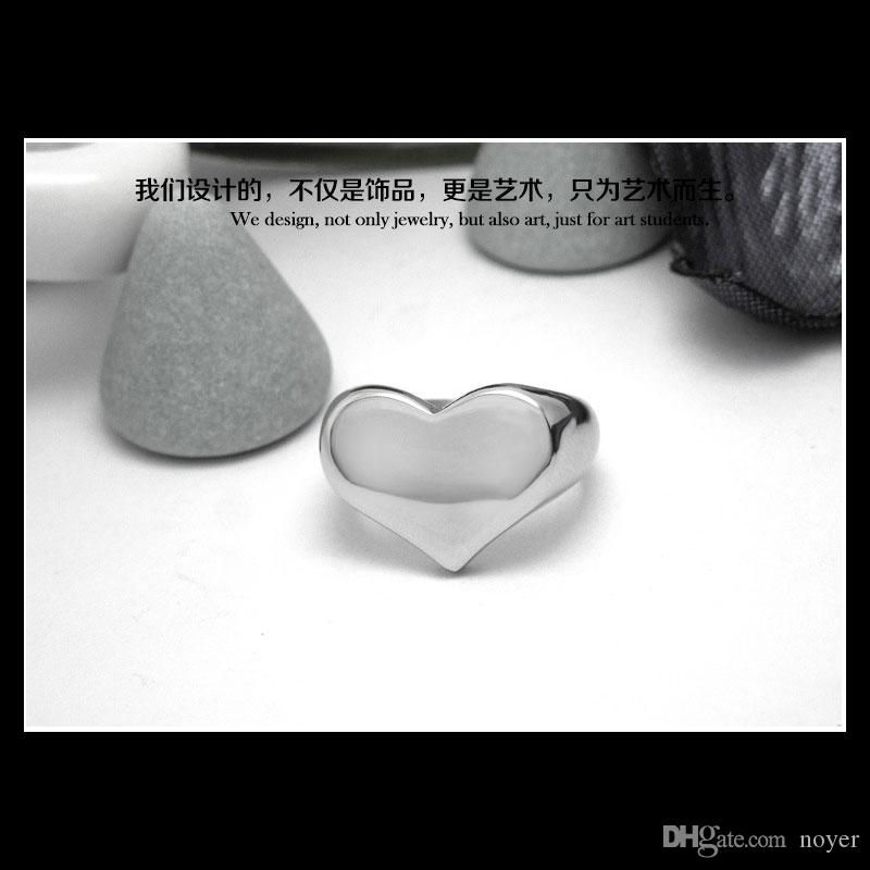 Fashion Top Quality love Heart Shape Ring 316L Stainless Steel Valentine's Day Gift Poker Spade Ring From